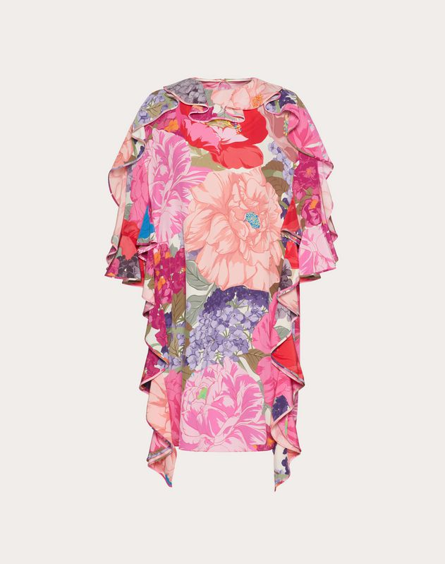 Printed Crepe de Chine Dress