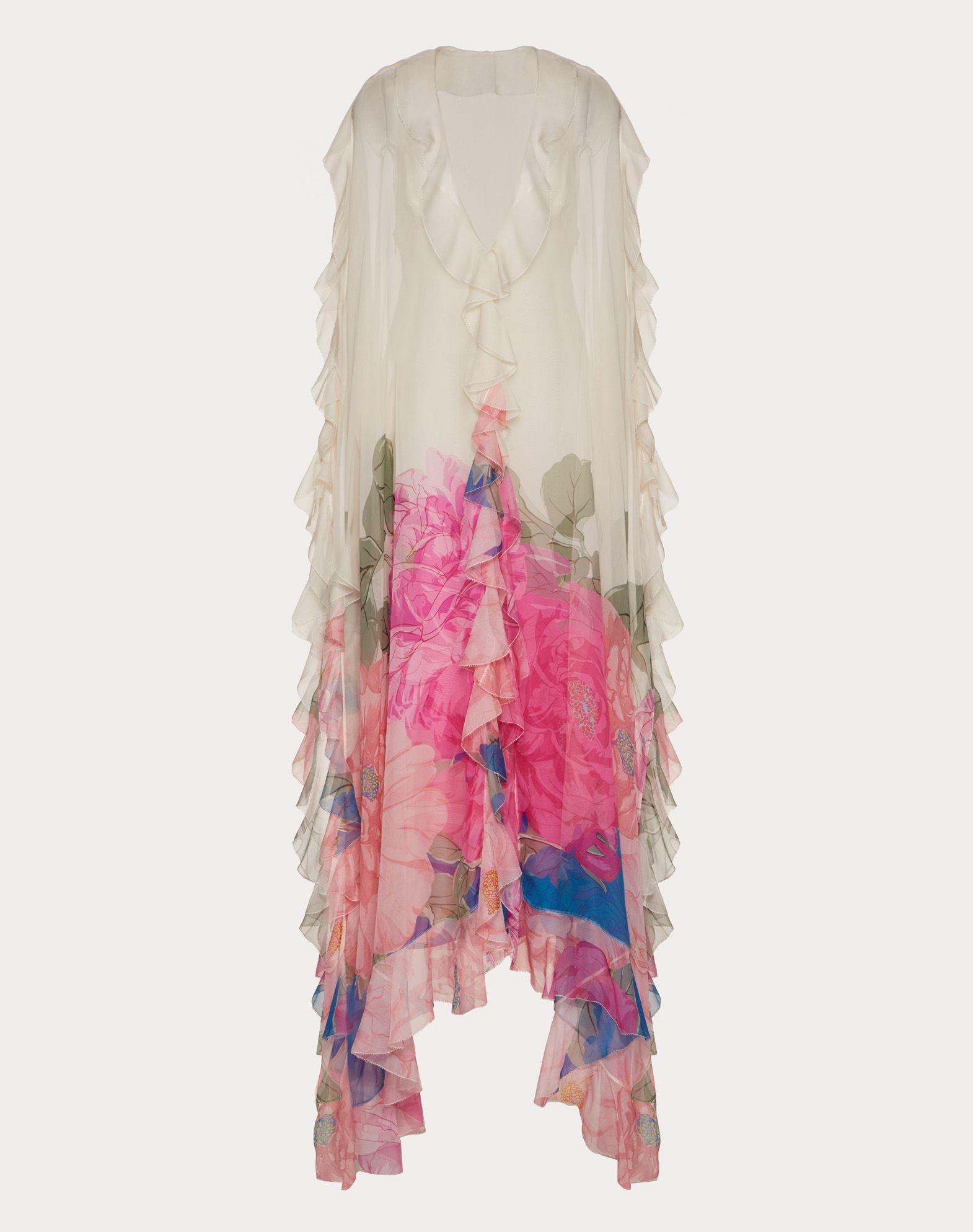 Printed Chiffon Evening Dress