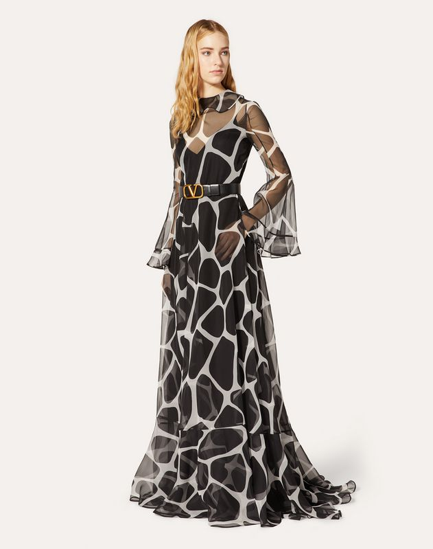 Printed Organza Evening Dress