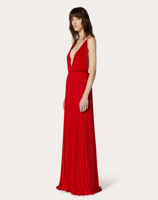 Pleated Georgette Evening Dress