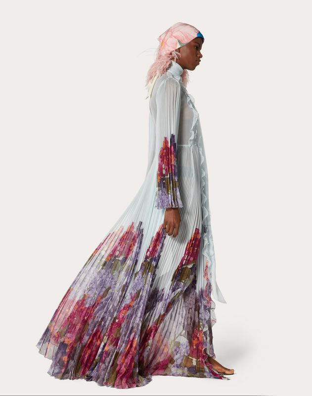 Printed Chiffon Evening Dress