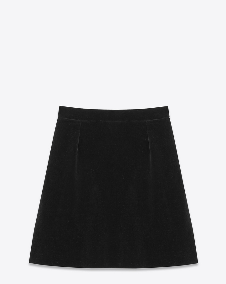 Saint Laurent A Line Mini Skirt In Black Cotton Velvet | YSL.com