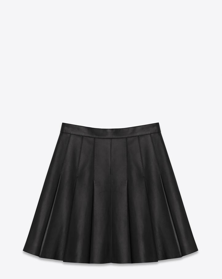 Saint Laurent Pleated Mini Skirt In Black Leather | YSL.com