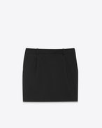SINGLE PLEATED MINI SKIRT IN BLACK VIRGIN WOOL