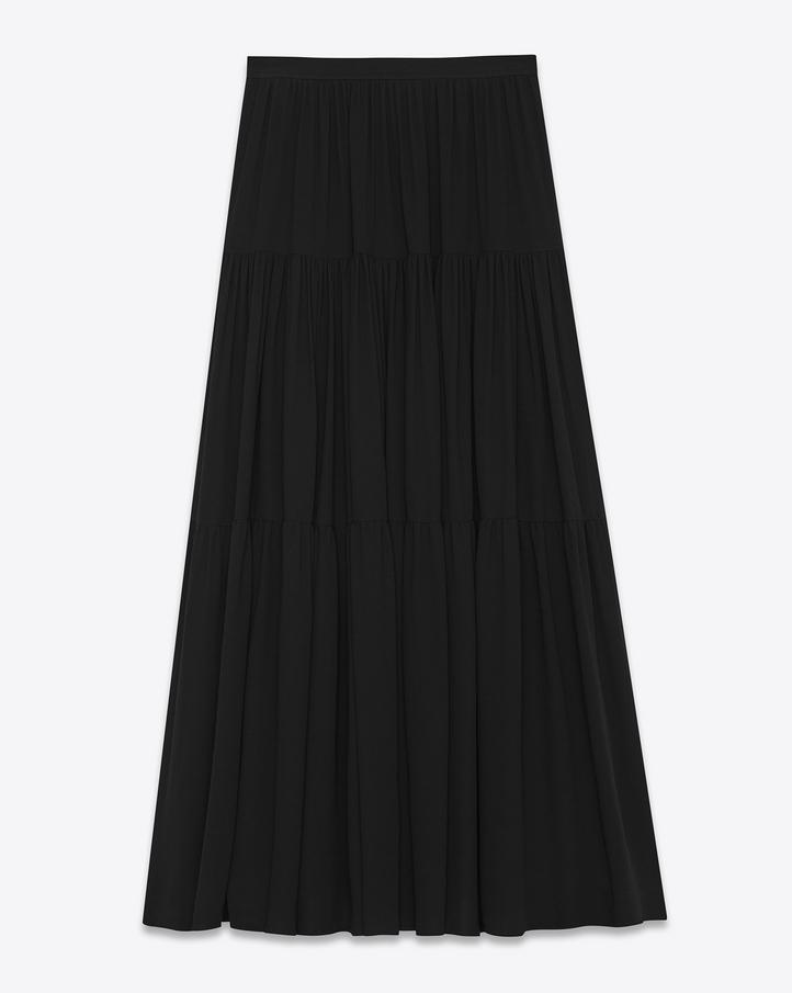 saint laurent jupe longue folk en dentelle de coton polyester et viscose noire. Black Bedroom Furniture Sets. Home Design Ideas