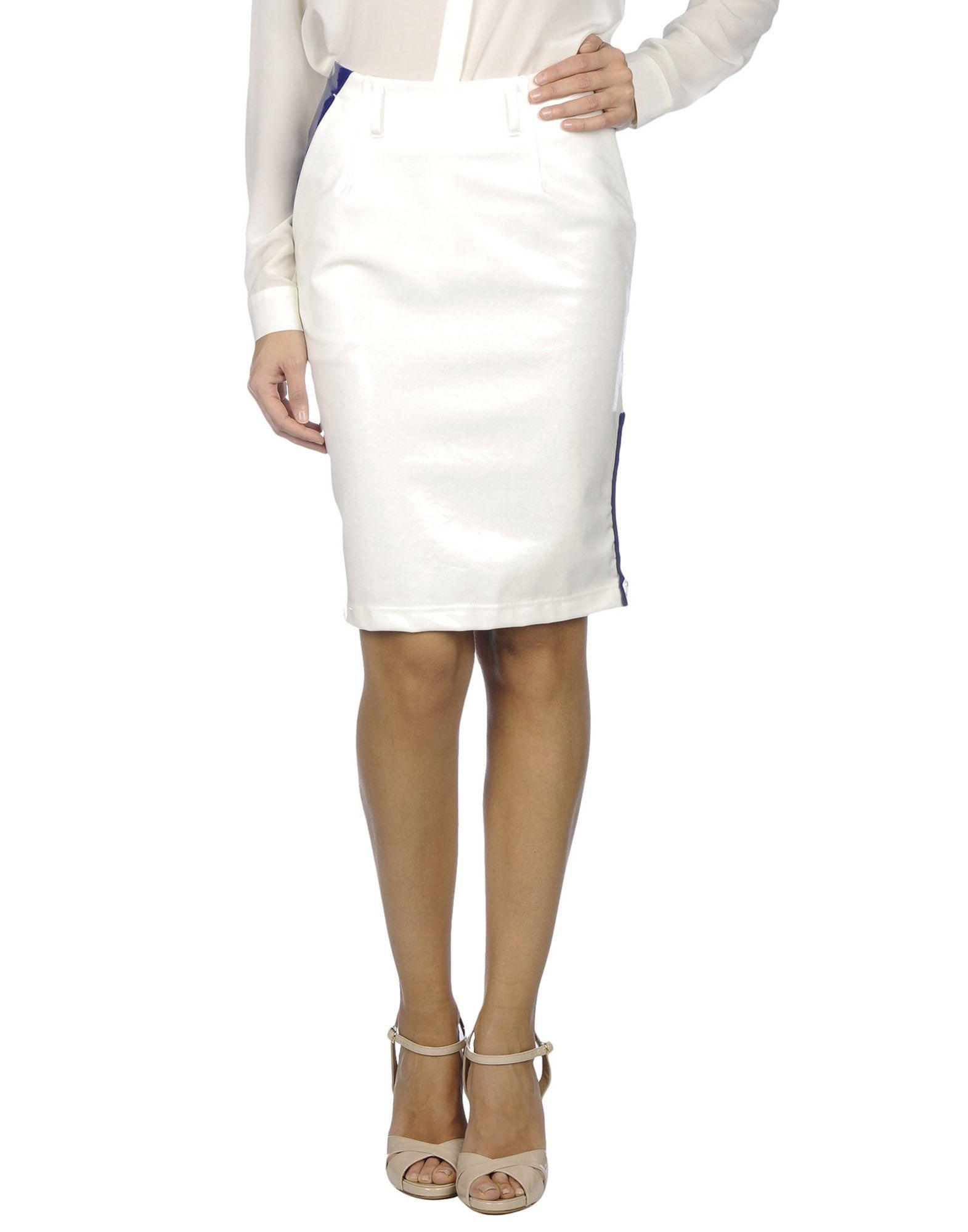 KOLOR Damen Knielanger Rock Farbe Weiß Größe 3