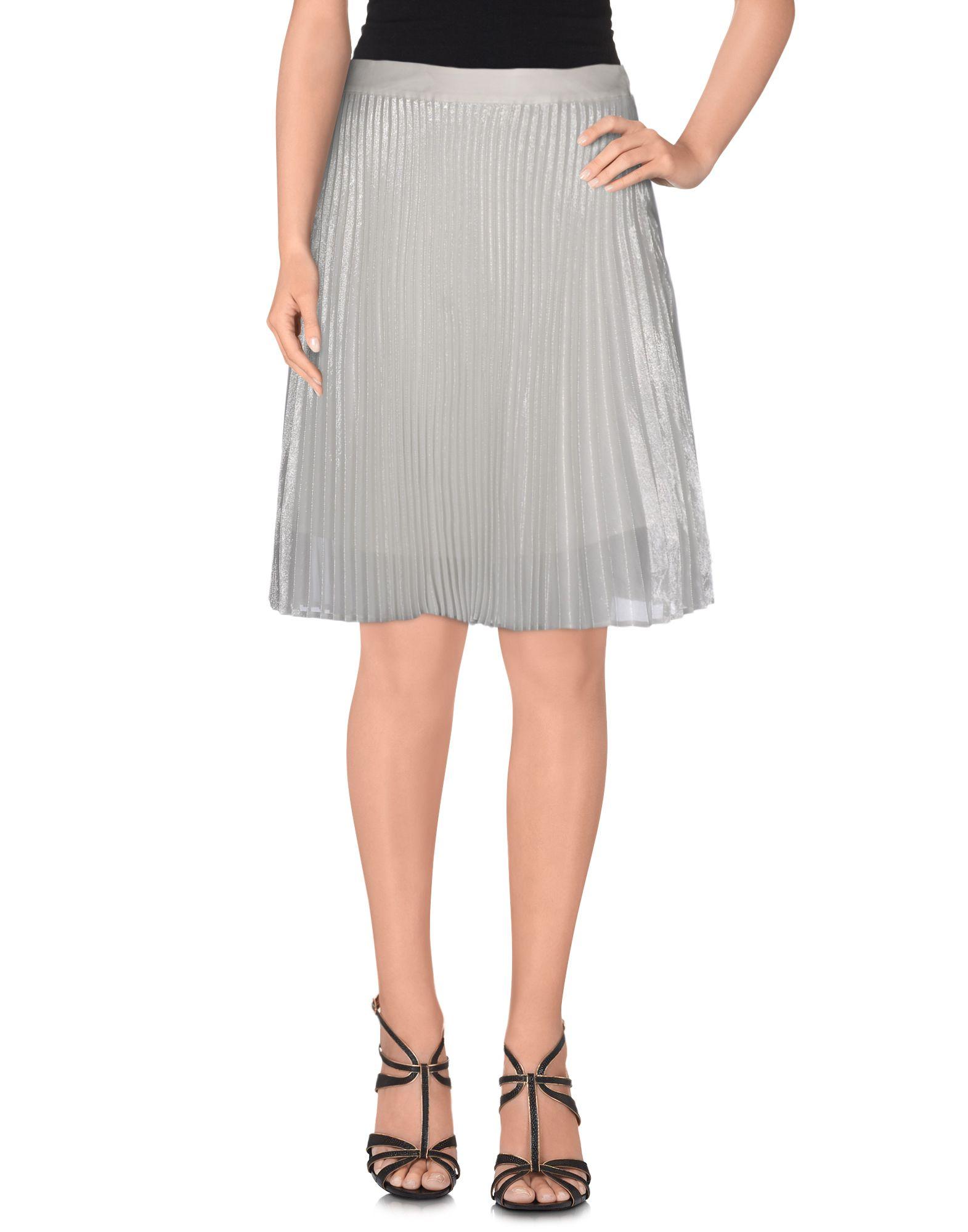 《送料無料》CLU レディース ひざ丈スカート シルバー L シルク 70% / Lurex 30% / ポリエステル