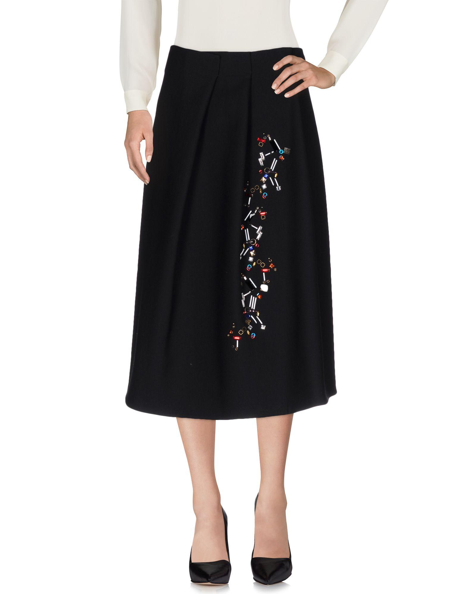 《送料無料》JIL SANDER レディース 7分丈スカート ブラック 36 バージンウール 100%