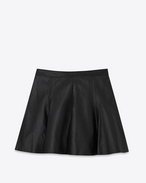 SAINT LAURENT Short Skirts D Skater Skirt in Black Leather f