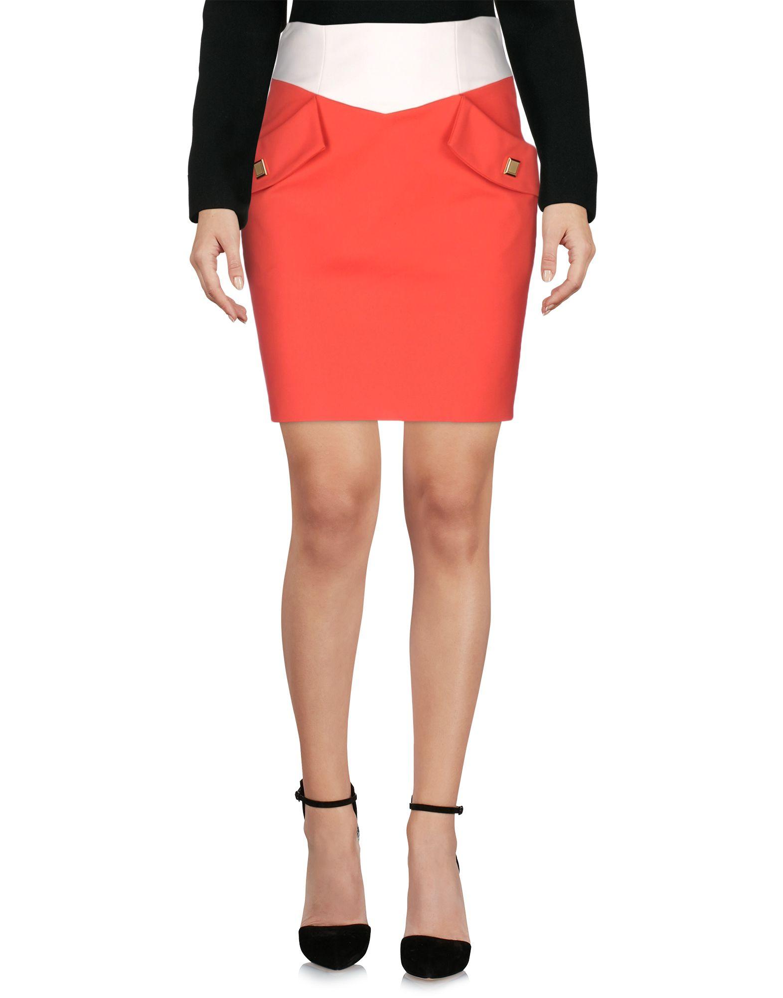 EMANUEL UNGARO Damen Knielanger Rock Farbe Rot Größe 3