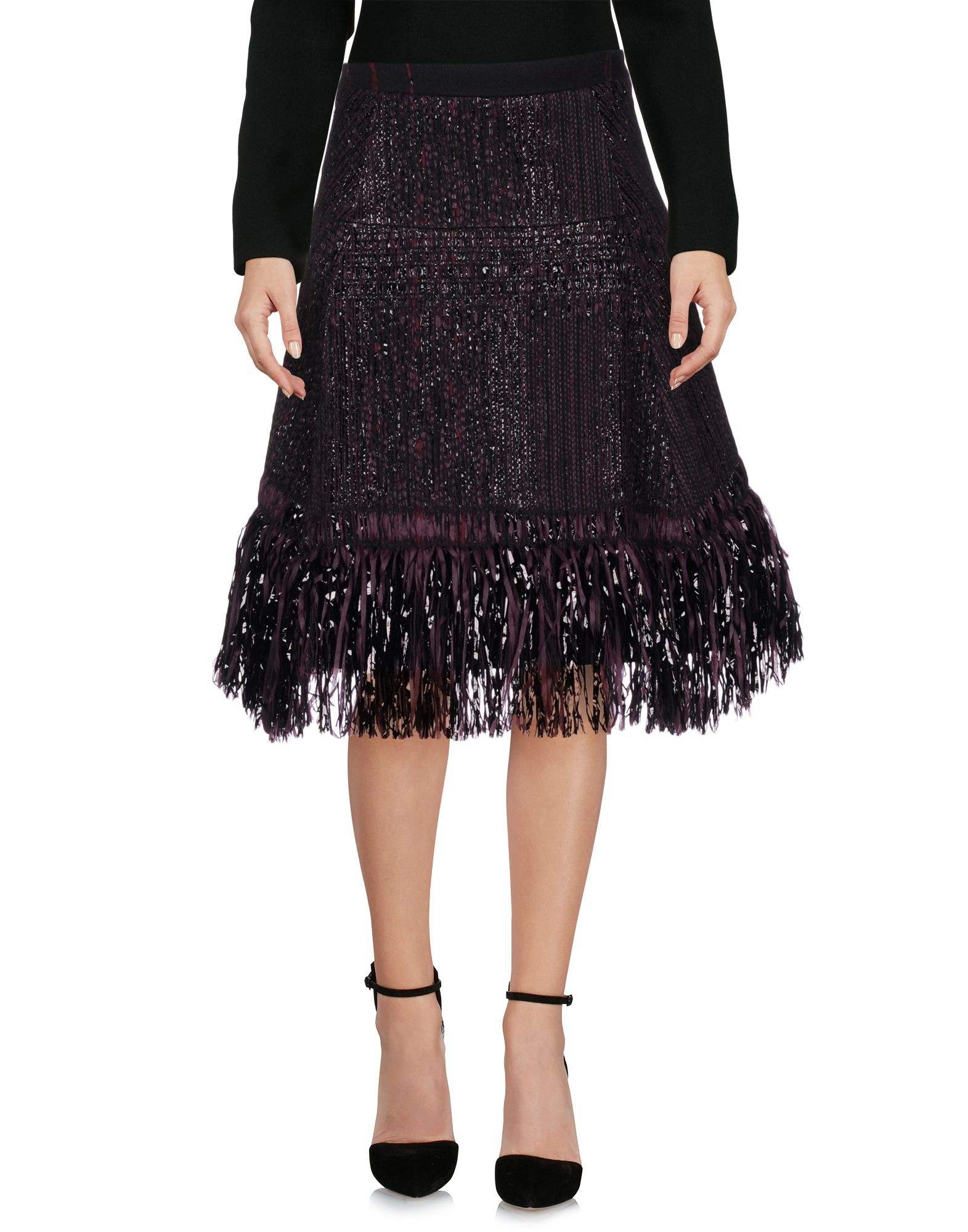 MAURIZIO PECORARO Knee Length Skirt in Dark Purple