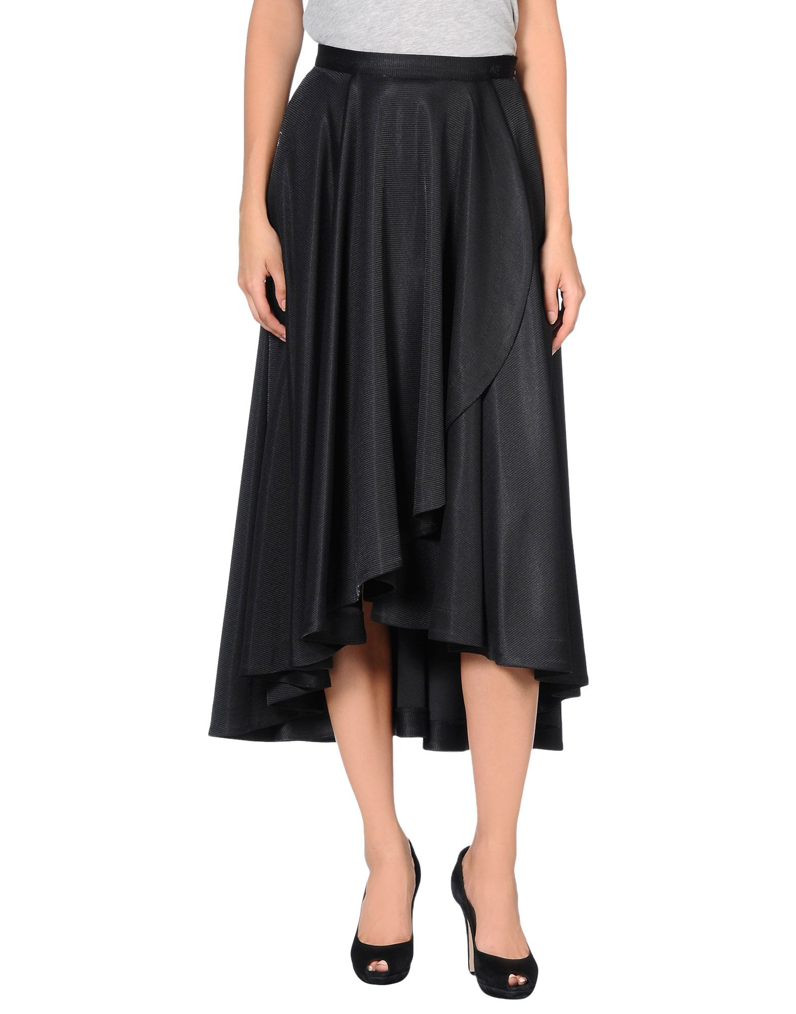 ANREALAGE Knee Length Skirt in Black
