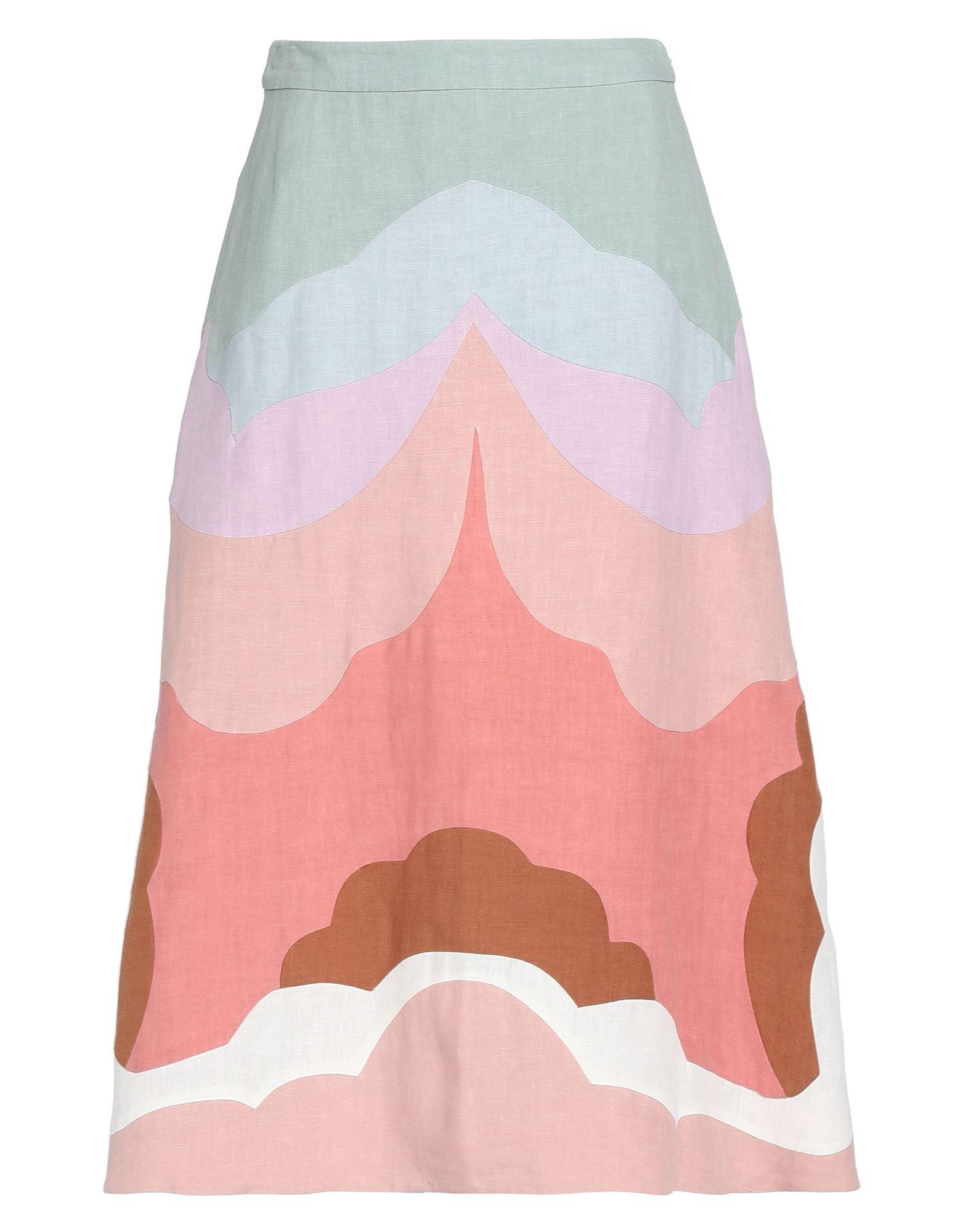 《送料無料》VALENTINO レディース 7分丈スカート ピンク 40 麻 100%