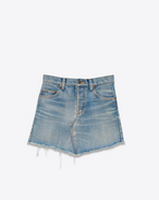 SAINT LAURENT Short Skirts D Trapèze Mini Skirt in Vintage Light Blue Denim f