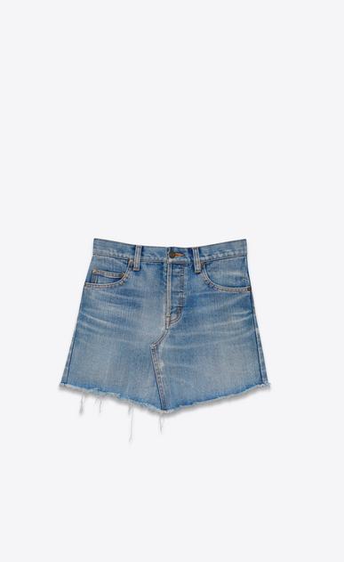 SAINT LAURENT Short Skirts Woman Trapèze Mini Skirt in Vintage Light Blue Denim a_V4