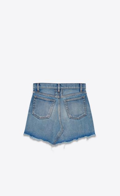 SAINT LAURENT Short Skirts Woman Trapèze Mini Skirt in Vintage Light Blue Denim b_V4