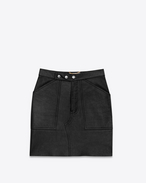 SAINT LAURENT Short Skirts D Cargo Pocket Skirt in Black Leather f