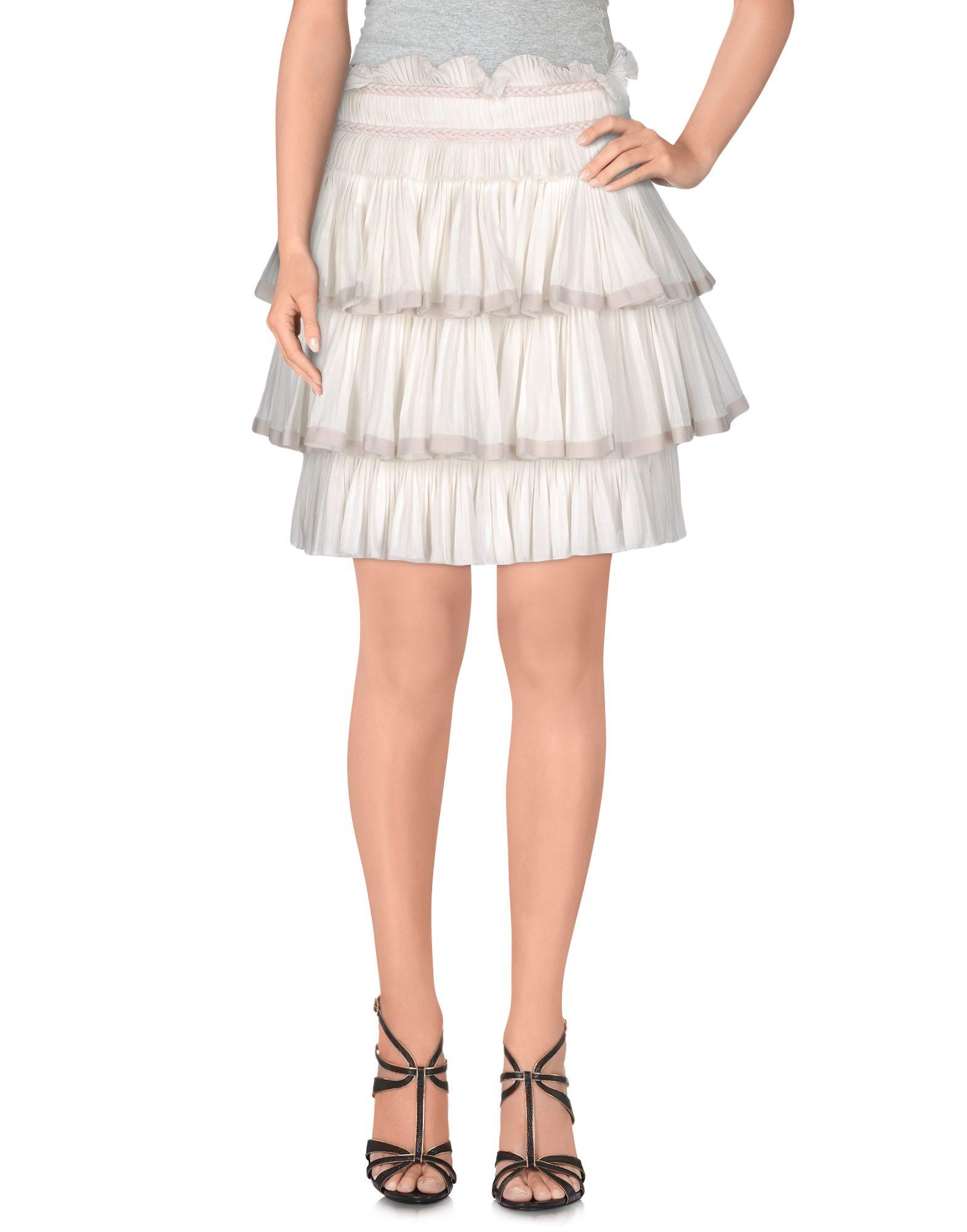 《セール開催中》ISABEL MARANT レディース ひざ丈スカート ホワイト 38 コットン 100%