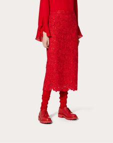 Straight Guipure Rebrodé Skirt