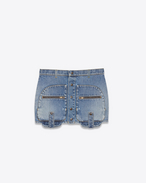 SAINT LAURENT Short Skirts D cargo mini skirt in used vintage 80's blue denim twill f