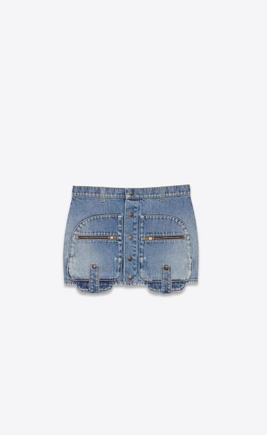 SAINT LAURENT Short Skirts Woman cargo mini skirt in used vintage 80's blue denim twill a_V4