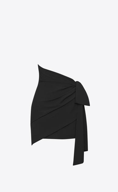 SAINT LAURENT Short Skirts D asymmetrical draped mini skirt in black sablé a_V4