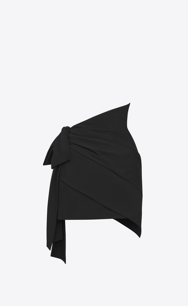 SAINT LAURENT Short Skirts D asymmetrical draped mini skirt in black sablé b_V4