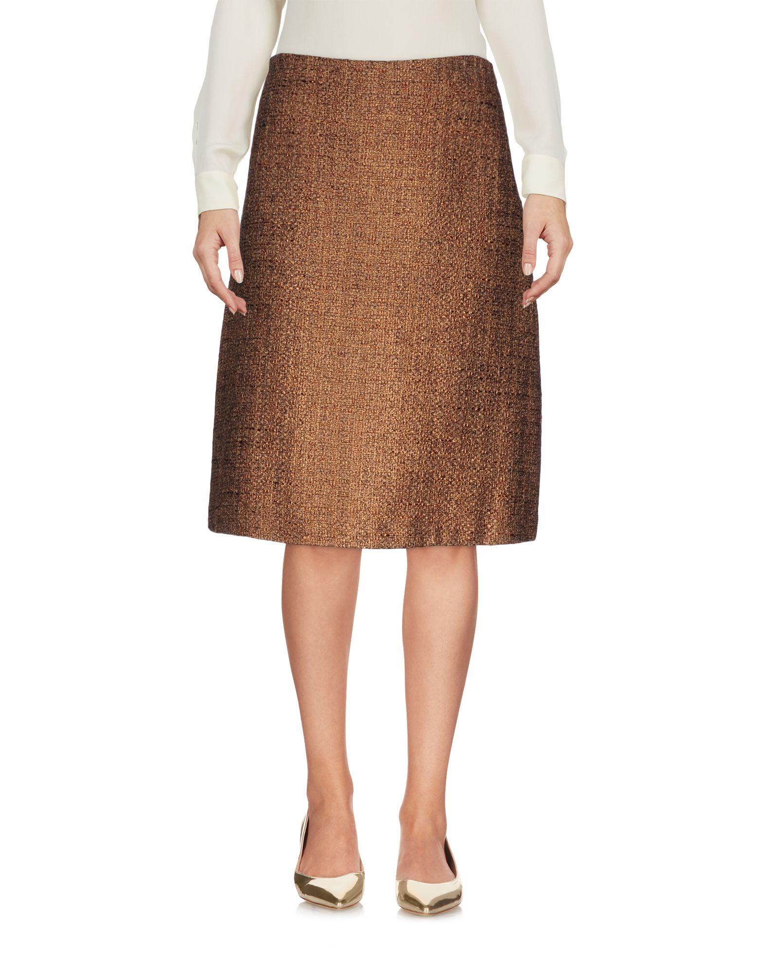 LAURA URBINATI Knee Length Skirt in Khaki