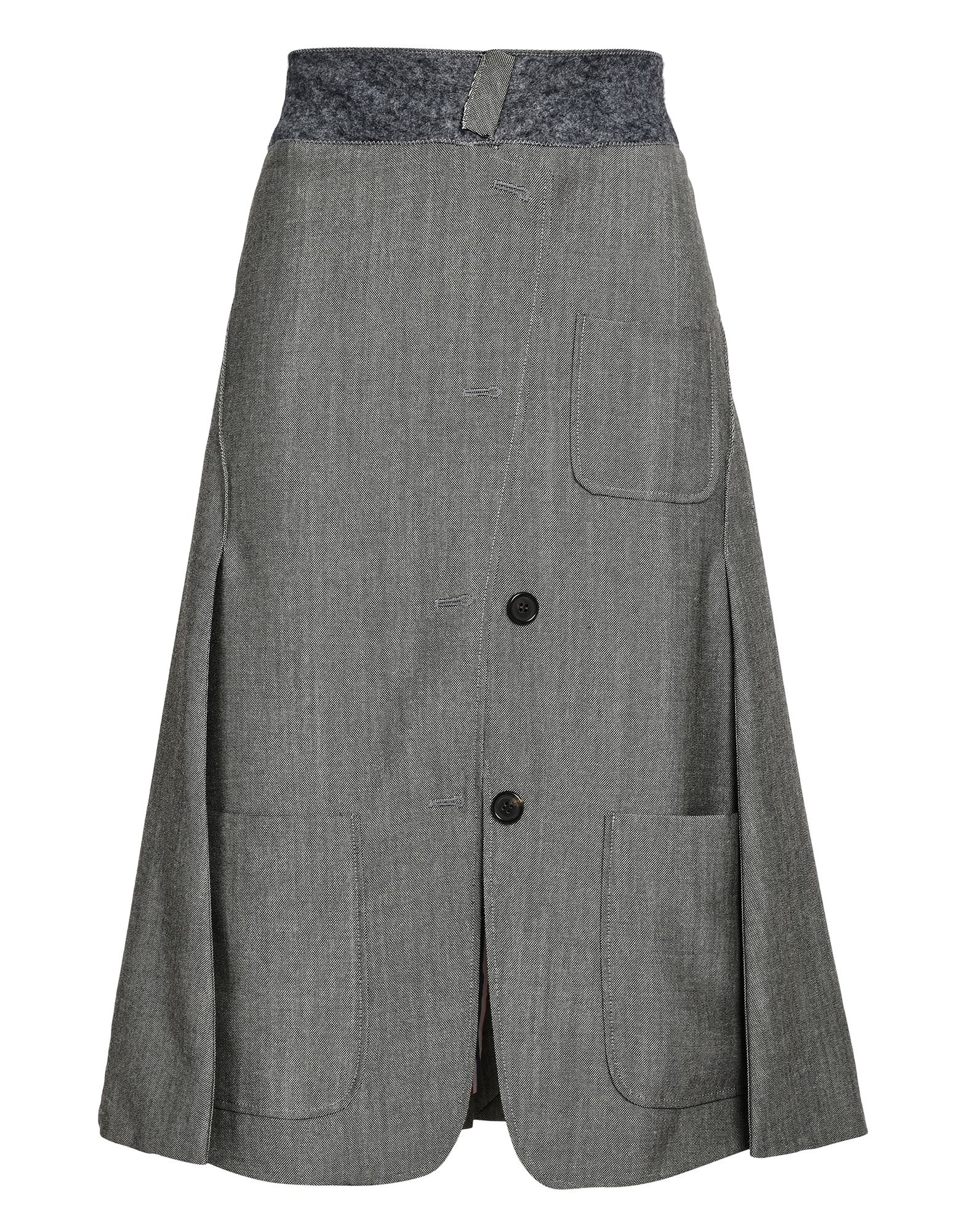 THOM BROWNE Knee length skirts. flannel, solid color, mid rise, no appliqués, hook-and-bar, zip, rear closure, multipockets, lined interior, trapeze dress. 55% Wool, 45% Mohair wool
