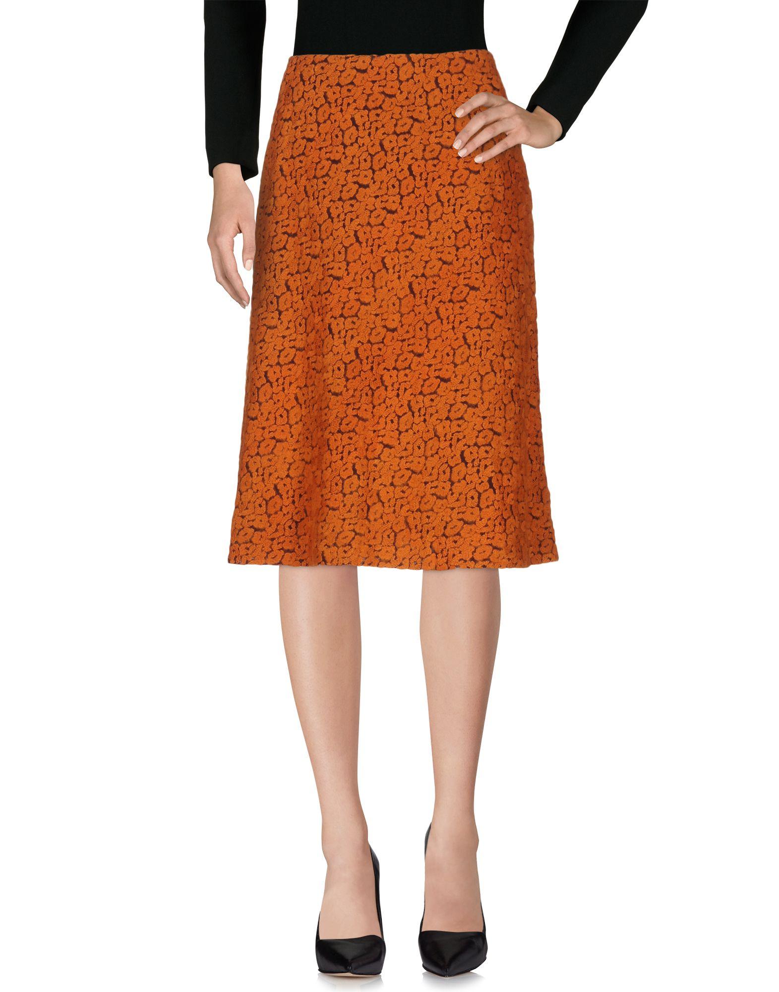 《送料無料》MAISON LAVINIATURRA レディース 7分丈スカート 赤茶色 42 ポリエステル 57% / コットン 40% / ポリウレタン 3%