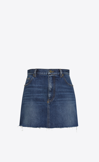 Asymmetrical Hem Embroidered Skirt in Deep Dark Blue Denim