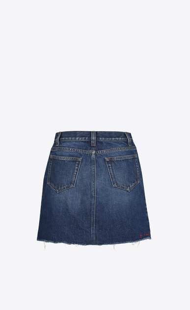 SAINT LAURENT Short Skirts Woman Asymmetrical Hem Embroidered Skirt in Deep Dark Blue Denim b_V4