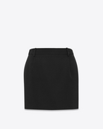 SAINT LAURENT Short Skirts D Iconic LE SMOKING Mini Skirt in Black Grain De Poudre f