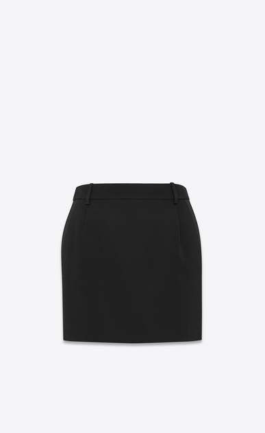 SAINT LAURENT Short Skirts Woman Iconic LE SMOKING Mini Skirt in Black Grain De Poudre a_V4