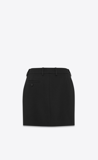 SAINT LAURENT Short Skirts Woman Iconic LE SMOKING Mini Skirt in Black Grain De Poudre b_V4