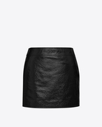 SAINT LAURENT Short Skirts D Trapeze Mini Skirt in Black Patent Leather f