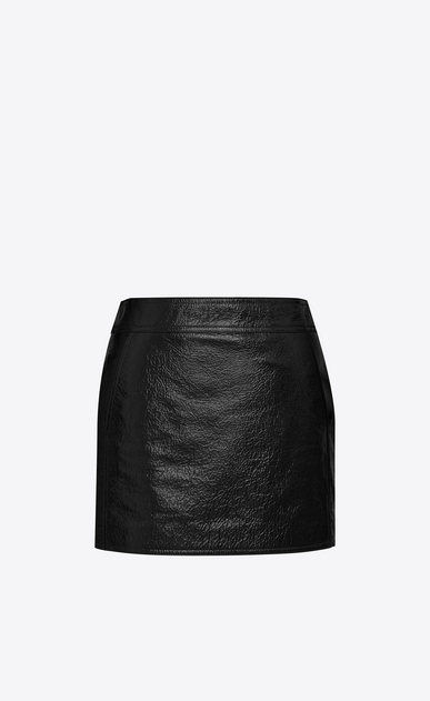 SAINT LAURENT Short Skirts D Trapeze Mini Skirt in Black Patent Leather a_V4