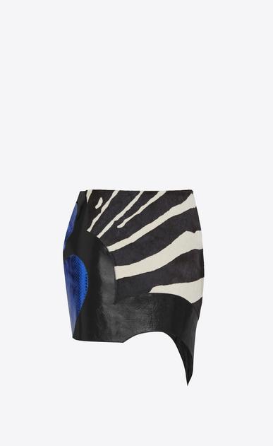 SAINT LAURENT Short Skirts D Asymmetrical Mini Skirt in Black and White leather, and Blue Python Skin Patchwork v4