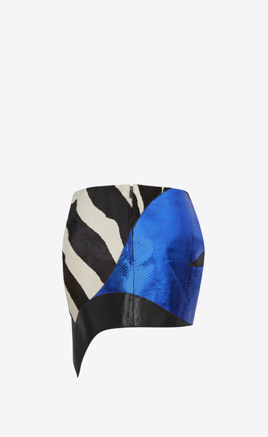 SAINT LAURENT Short Skirts Woman Asymmetrical Mini Skirt in Black and White leather, and Blue Python Skin Patchwork b_V4
