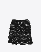 SAINT LAURENT Short Skirts D Double Ruffled Mini Skirt in Black and White Lipstick Dot Printed Silk Crêpe f