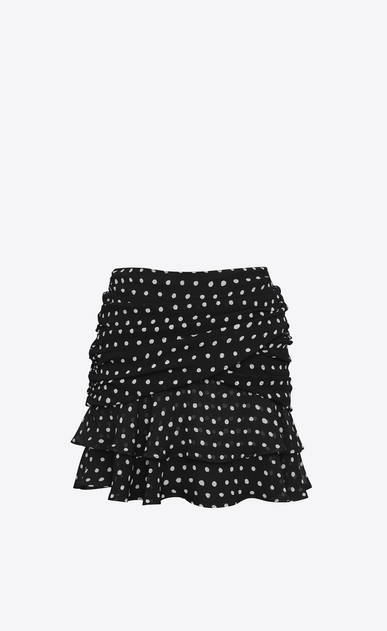 SAINT LAURENT Short Skirts Woman Double Ruffled Mini Skirt in Black and White Lipstick Dot Printed Silk Crêpe a_V4