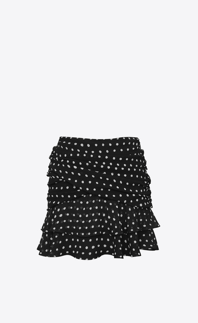 SAINT LAURENT Short Skirts Woman Double Ruffled Mini Skirt in Black and White Lipstick Dot Printed Silk Crêpe b_V4
