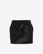 SAINT LAURENT Short Skirts D Leather Tiger Patch Mini Skirt in Black Corduroy f