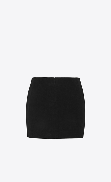 SAINT LAURENT Short Skirts Woman Leather Tiger Patch Mini Skirt in Black Corduroy b_V4