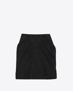 SAINT LAURENT Short Skirts D Draped Mini Skirt in Black Suede f