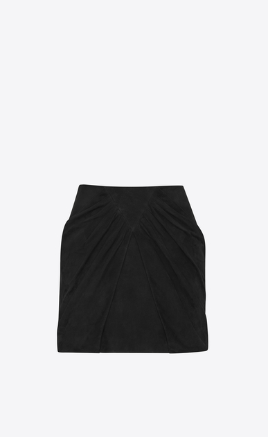 SAINT LAURENT Short Skirts Woman Draped Mini Skirt in Black Suede a_V4