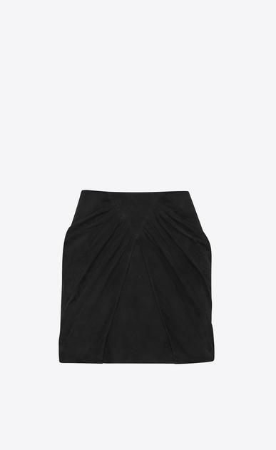 SAINT LAURENT Short Skirts D Draped Mini Skirt in Black Suede v4