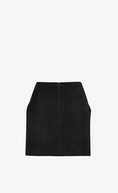 SAINT LAURENT Short Skirts Woman Draped Mini Skirt in Black Suede b_V4
