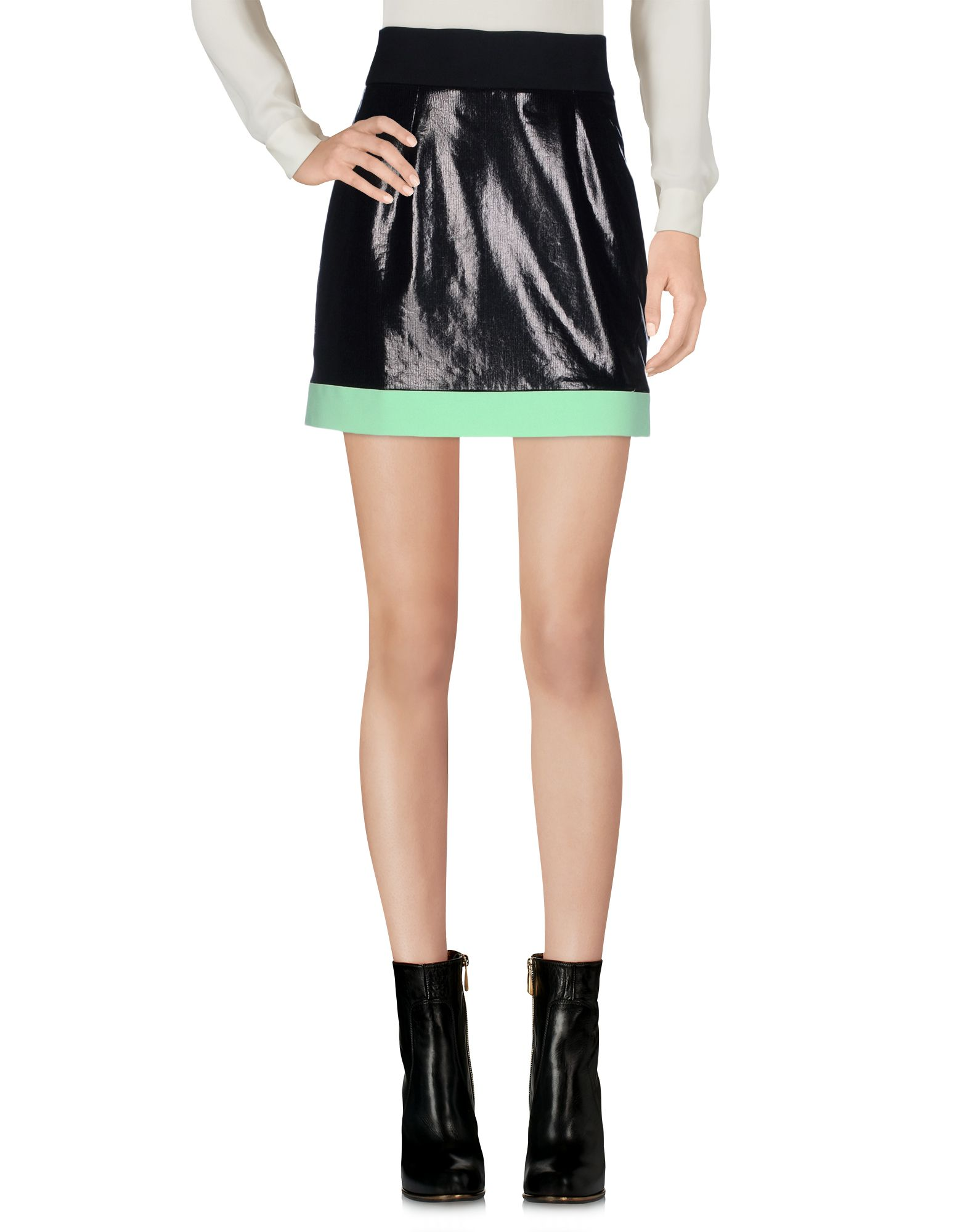 FAUSTO PUGLISI Мини-юбка stylish plunging neck long sleeve solid color lace up blouse for women