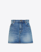 SAINT LAURENT Short Skirts D Embroidered mini skirt in blue denim f